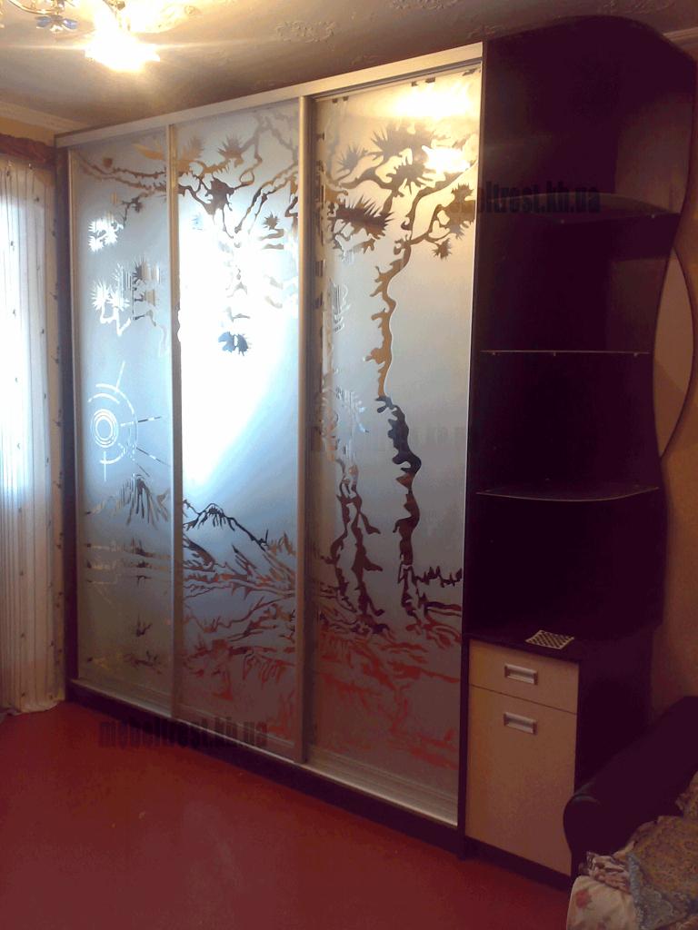 шкаф-купе. Раздвижная система из алюминия с зеркальным наполнением, обработка химтравлением
